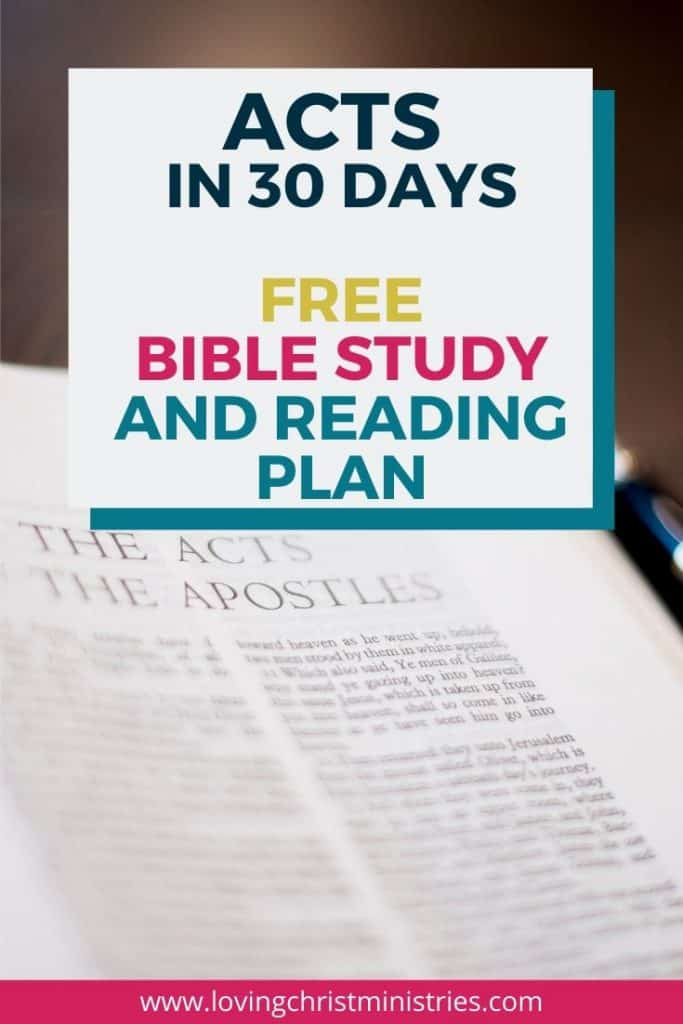 image of Bible open to Acts with title text overlay - Acts in 30 Days Free Beginner's Bible Study and Reading Plan