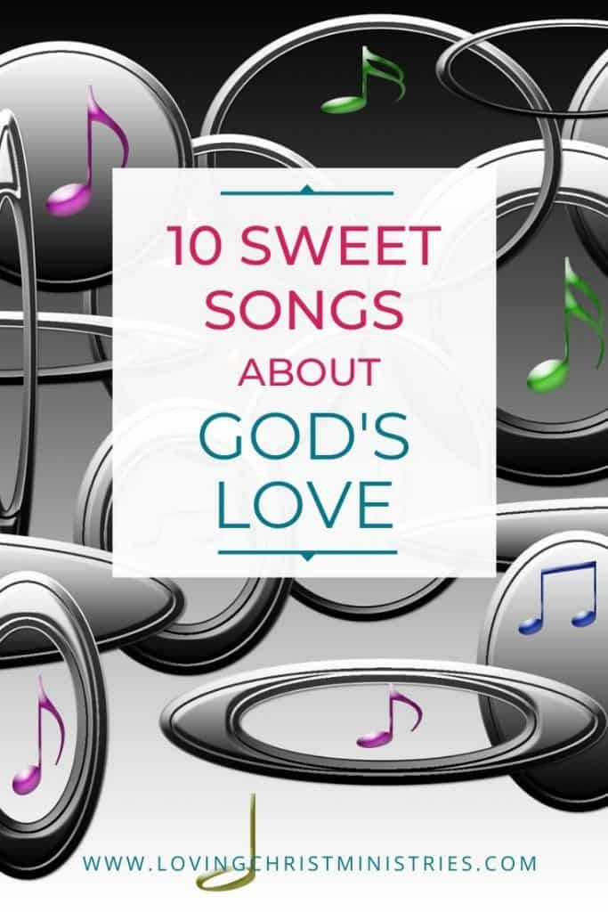 image of music notes and circles with title text overlay - Sweet Songs about God's Love