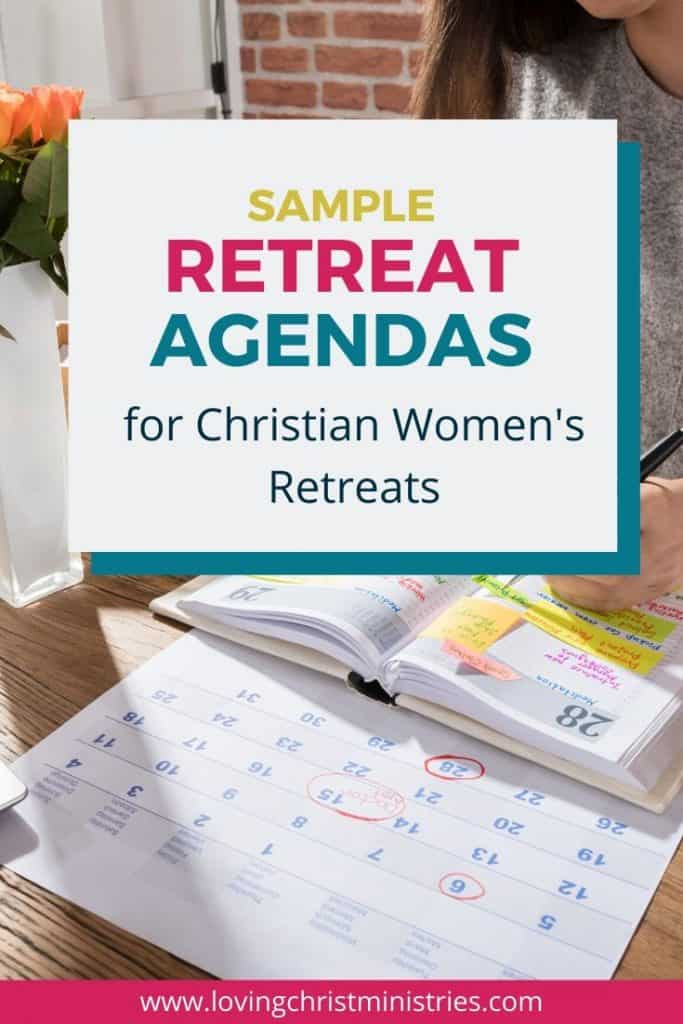 image of woman writing in planner with title text overlay - Sample Retreat Agendas for Christian Women's Retreats