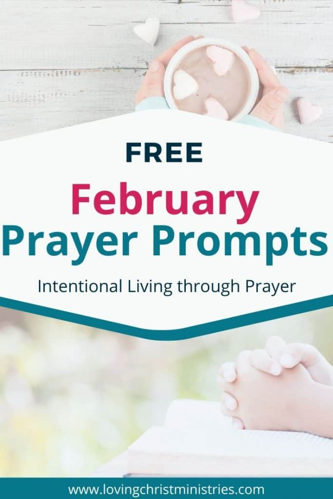 image of hot cocoa with heart shaped marshmallows on top and praying hands below with title text overlay - Free February Prayer Journal Prompts