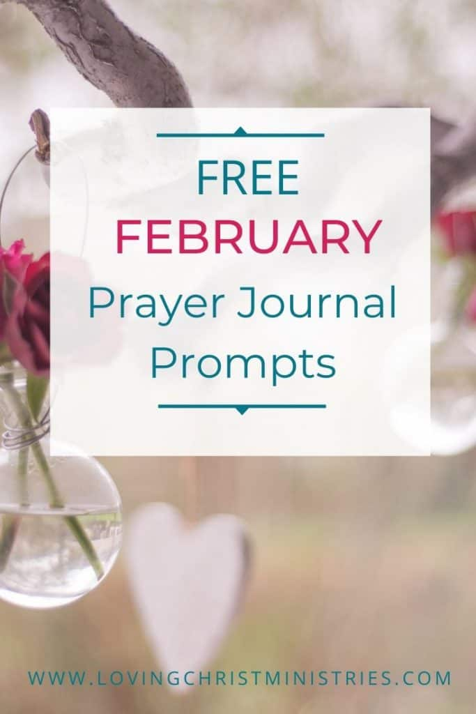 image of rose and hanging heart shaped pendant with title text overlay - Free February Prayer Journal Prompts