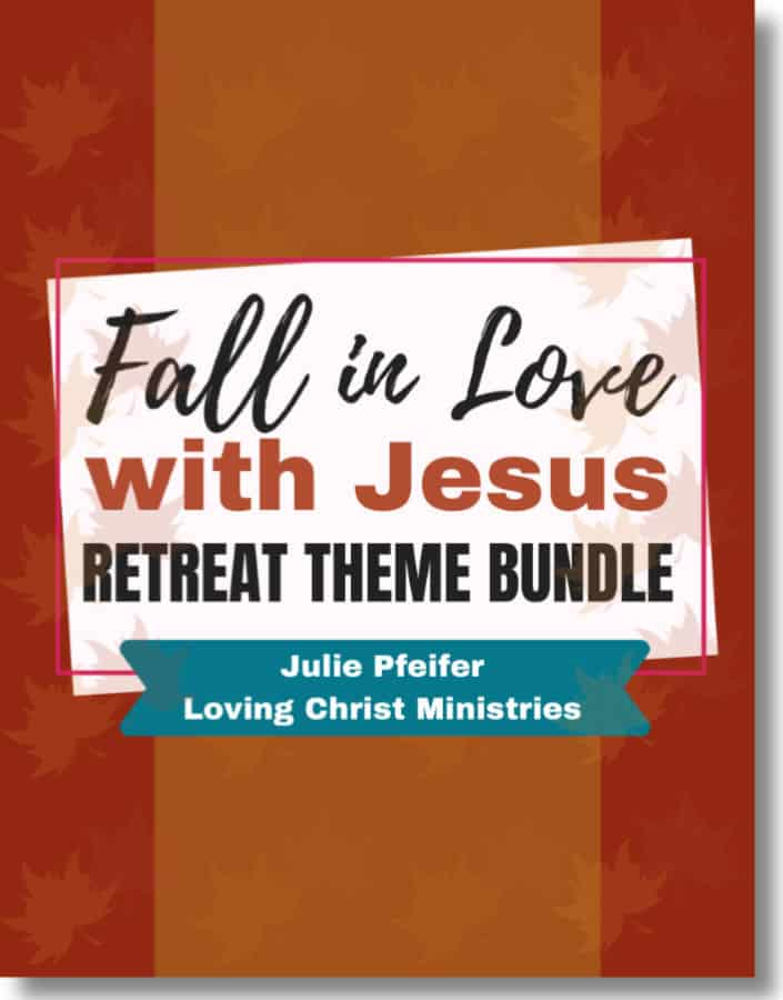 image of brown ebook cover with title text overlay - Fall in Love with Jesus Retreat Theme Bundle