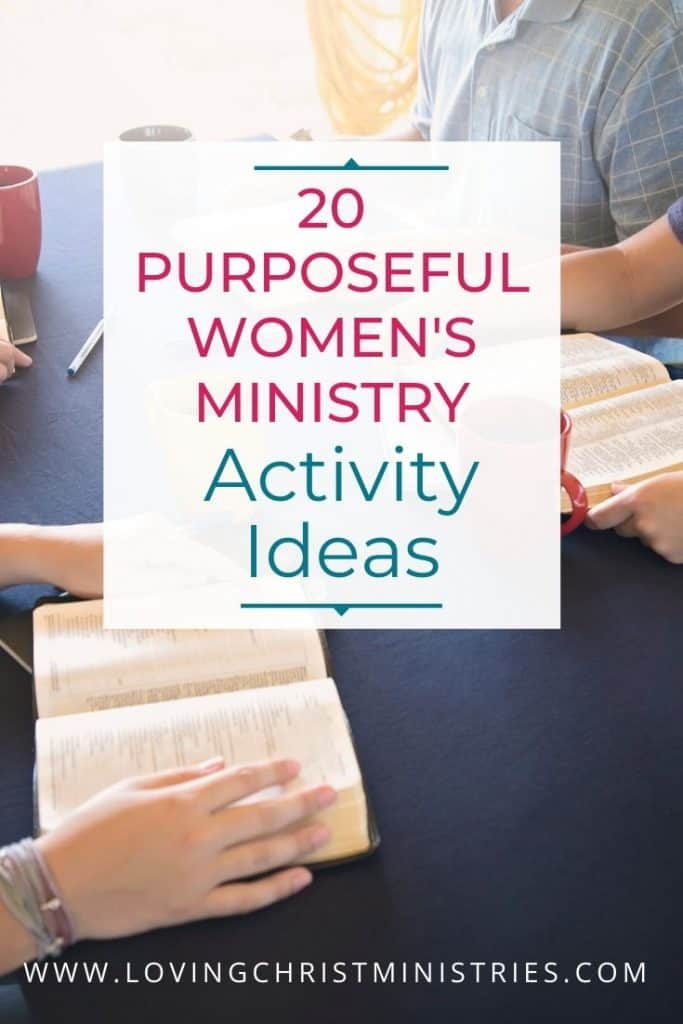 image of women holding bibles with title text overlay - 20 Purposeful Activity Ideas Shared by Women's Ministry Leaders