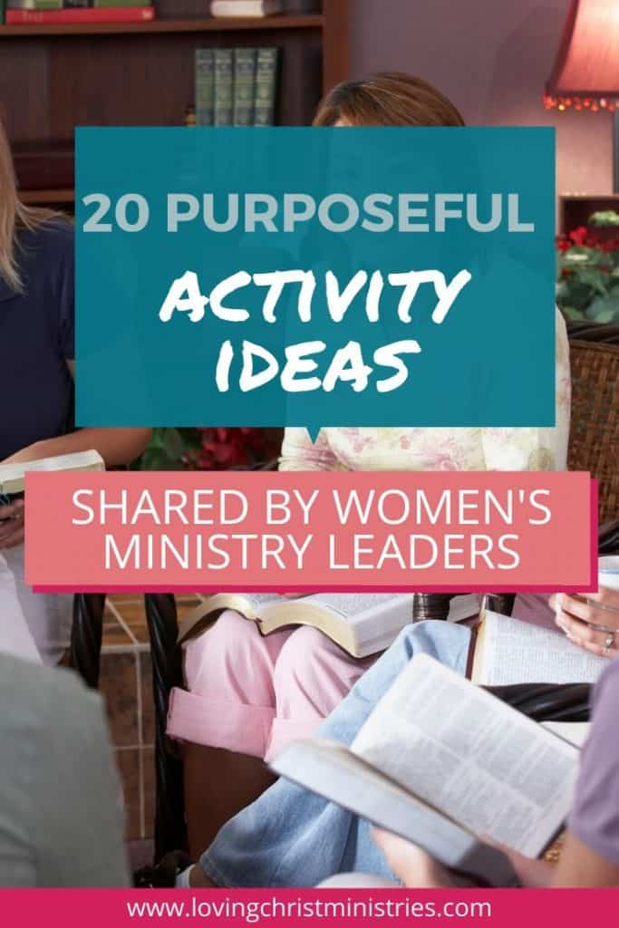 image of women with Bibles sitting in circle with title text overlay - 20 Purposeful Activity Ideas Shared by Women's Ministry Leaders