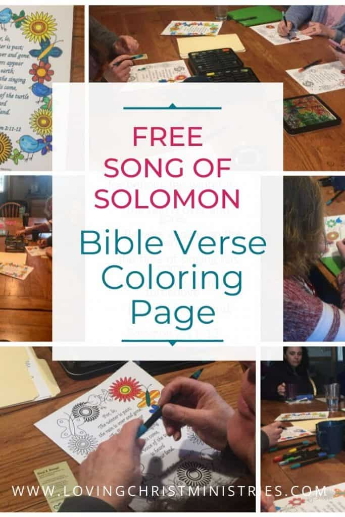 collage of women around table coloring the Song of Solomon Bible Verse Spring Coloring Page