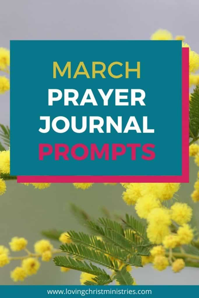 image of yellow flowers with title text overlay - March Prayer Journal Prompts