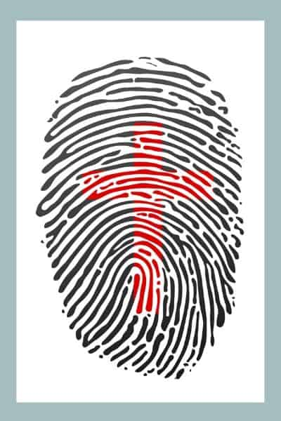 image of fingerprint with red cross in the middle
