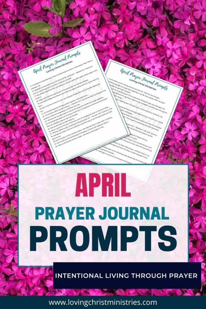 image of woman praying with title text overlay - April Prayer Journal Prompts