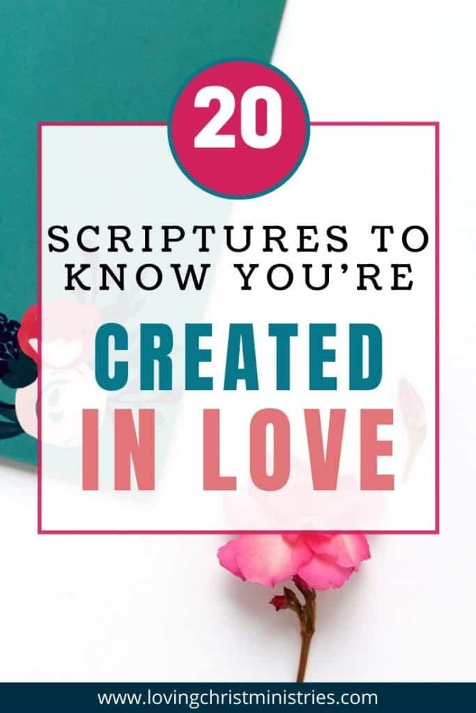 image of white desk with pink flower and title text overlay - Created with Love Scriptures