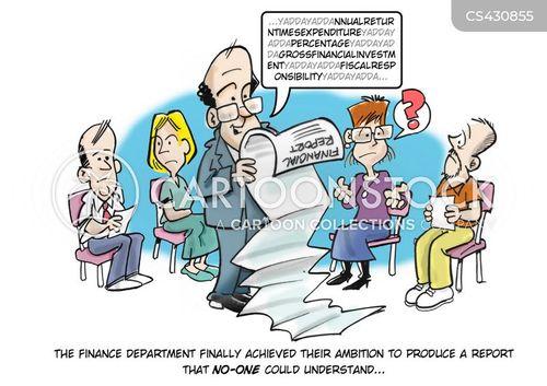 finance report cartoon