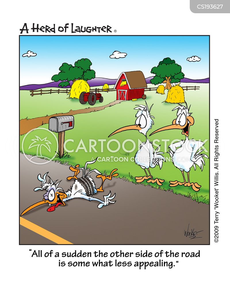 why did the chicken cross the road cartoons and comics funny