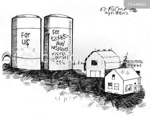 grain silos cartoon