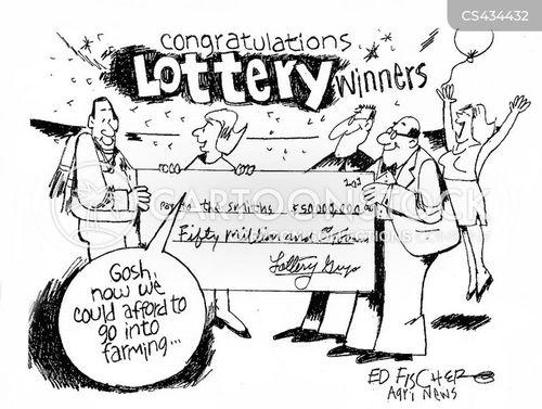 lottery win cartoon
