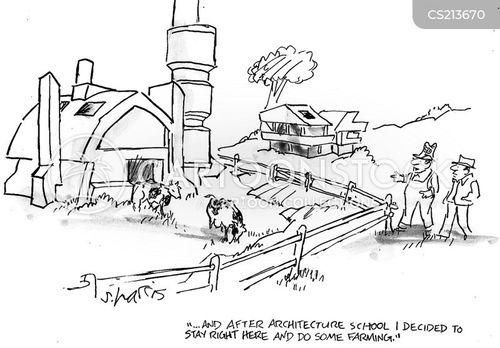 modern architecture cartoon