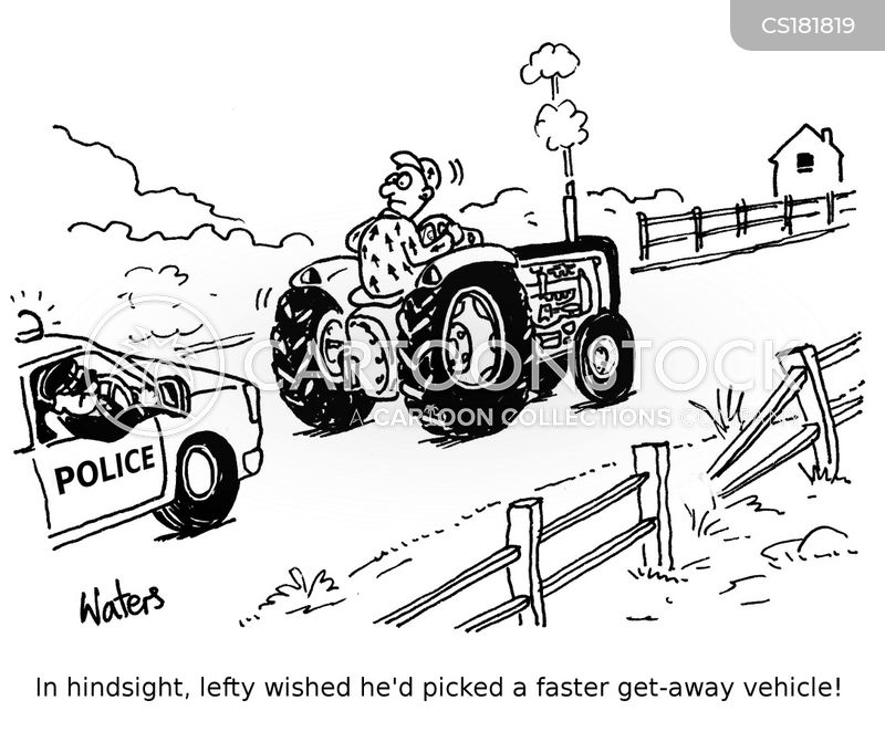 police chasing cartoon