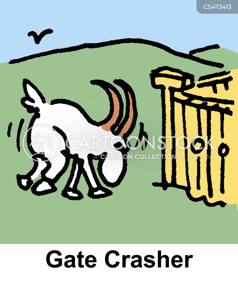 gate crashing cartoon