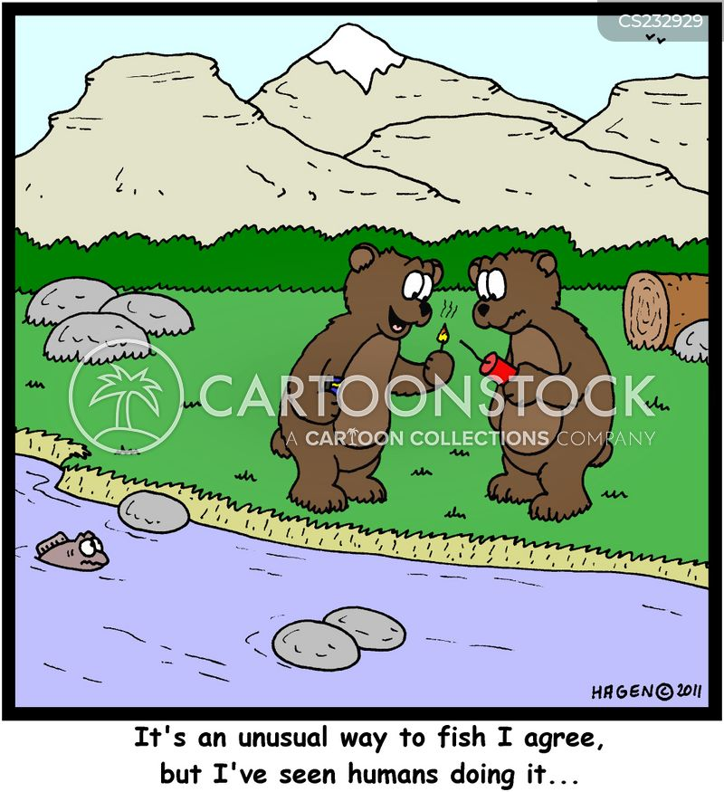 dynamite fishing cartoon