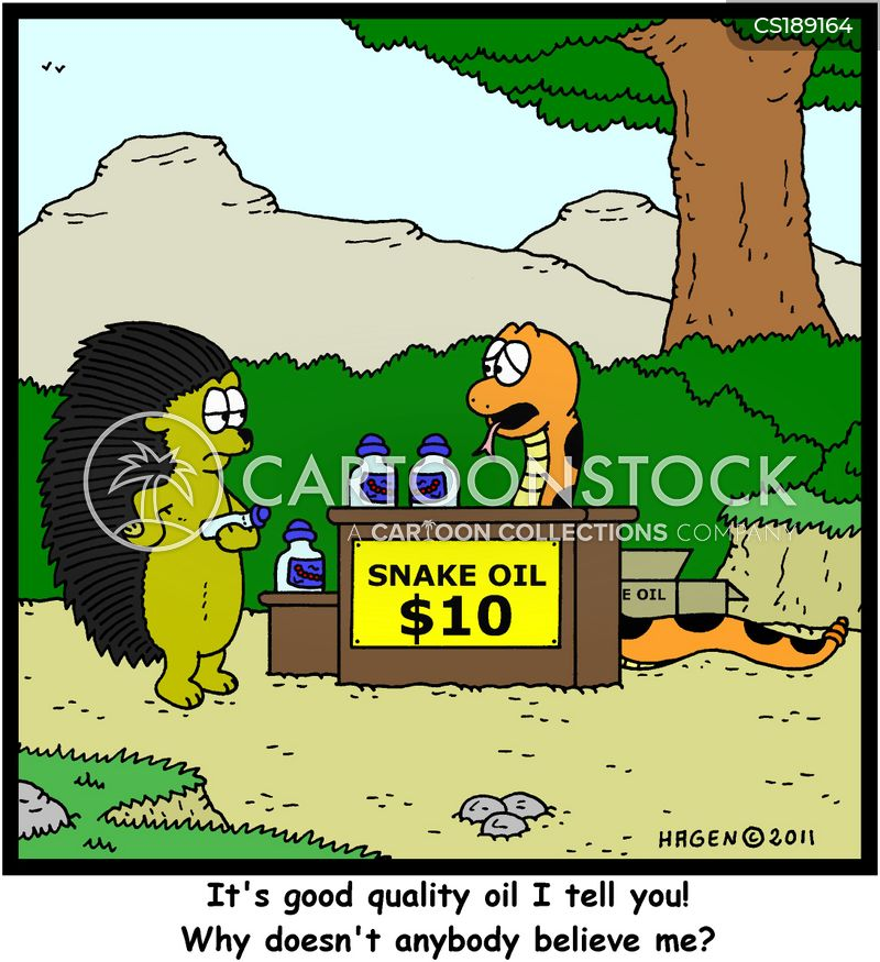 snake oils cartoon