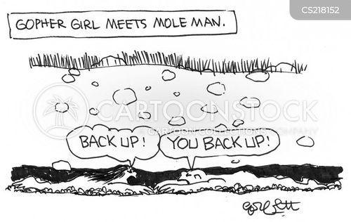 backing up cartoon