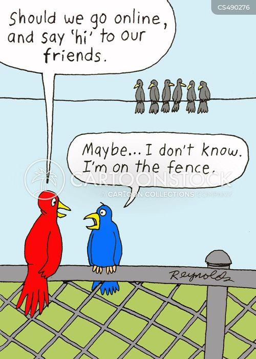 sitting on the fence cartoon