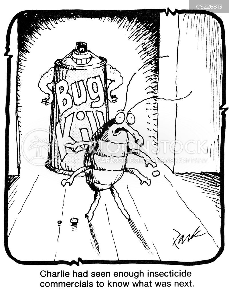 bug killing cartoon