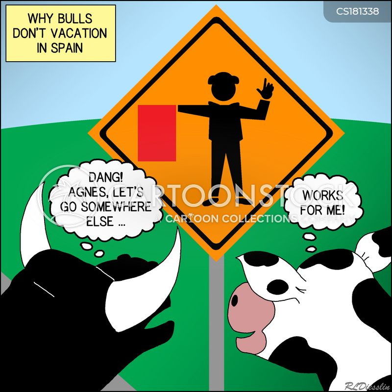 bull fighting cartoon
