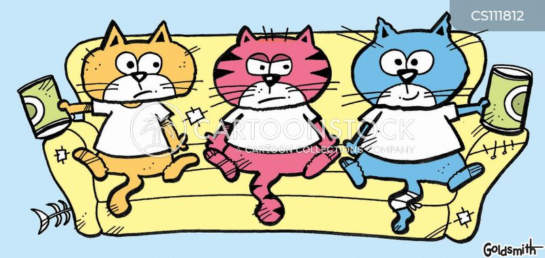 feeding the cat cartoon