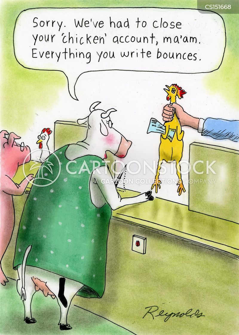 bouncing cheques cartoon