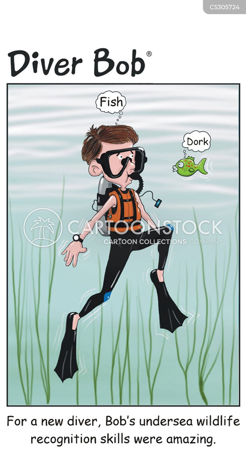 free diving cartoon