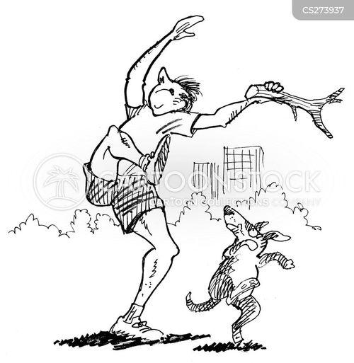 throwing sticks cartoon