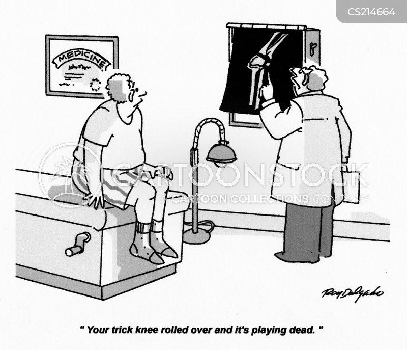 knee injuries cartoon