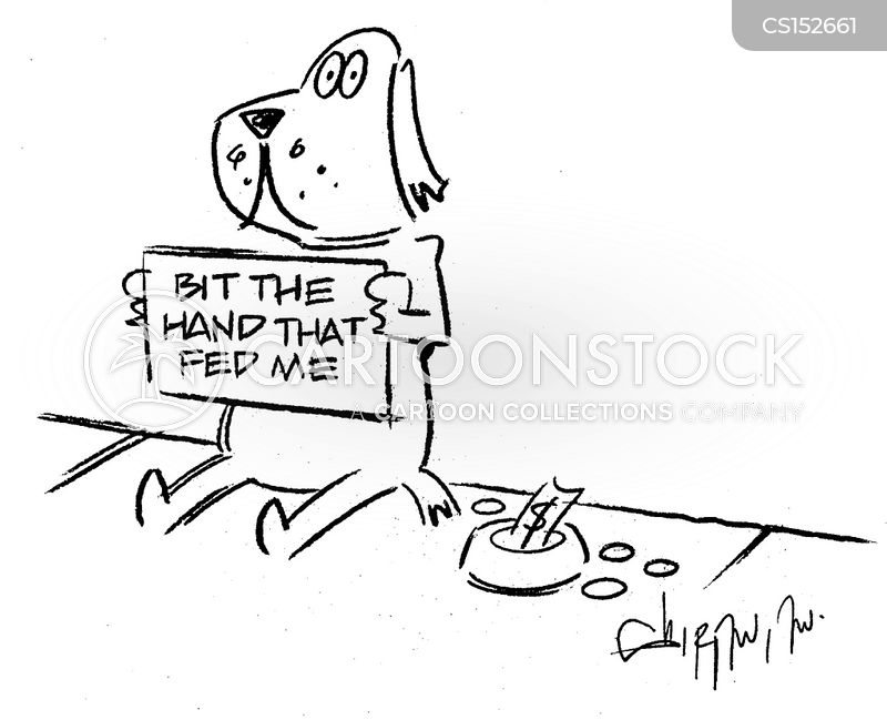 bite the hand that feeds you cartoon