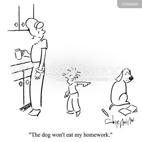 the dog ate my homework cartoon