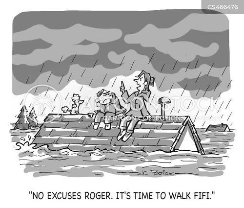 dog-walking cartoon