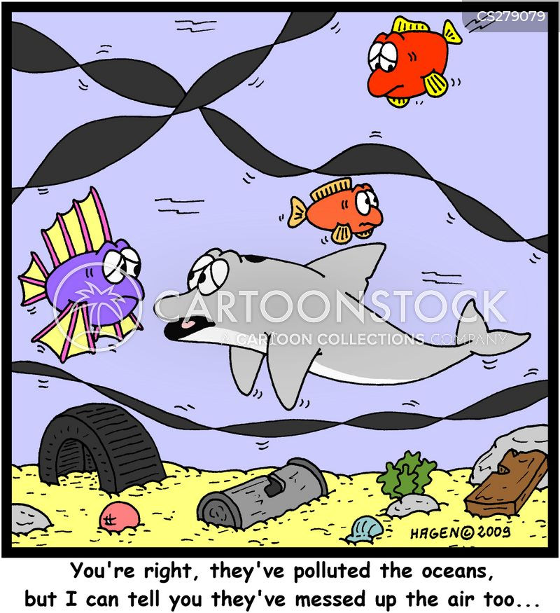 polluted oceans cartoon