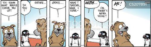eating grass cartoon