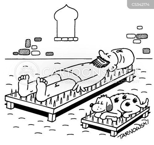 beds of nails cartoon