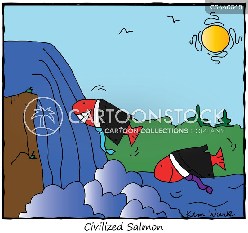 farmed salmon cartoon