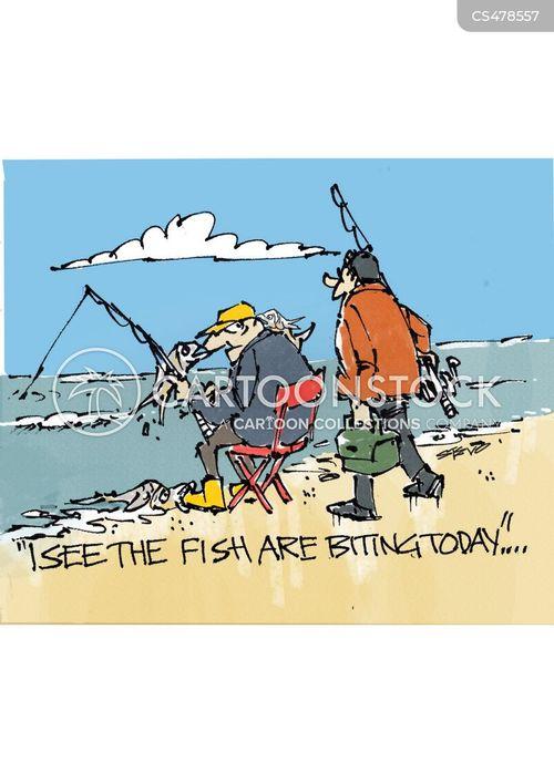 fish biting cartoon