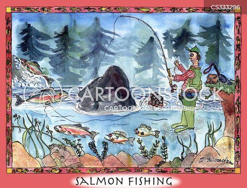 fishing for salmon cartoon