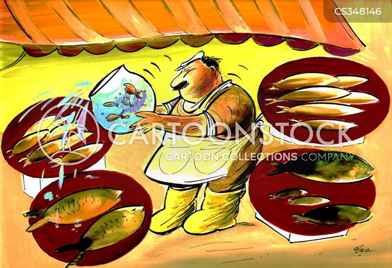 fish seller cartoon