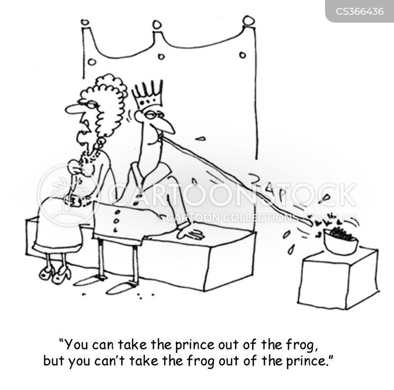 kissing frogs cartoon