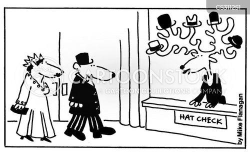 hat check cartoon