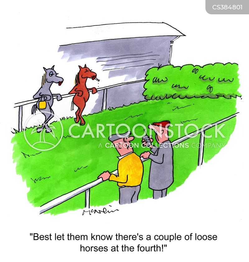 racing horses cartoon