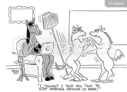 horsing around cartoon