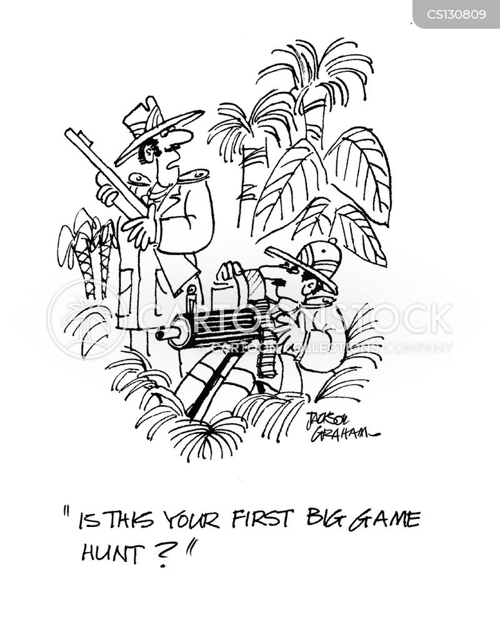 big game hunting cartoon