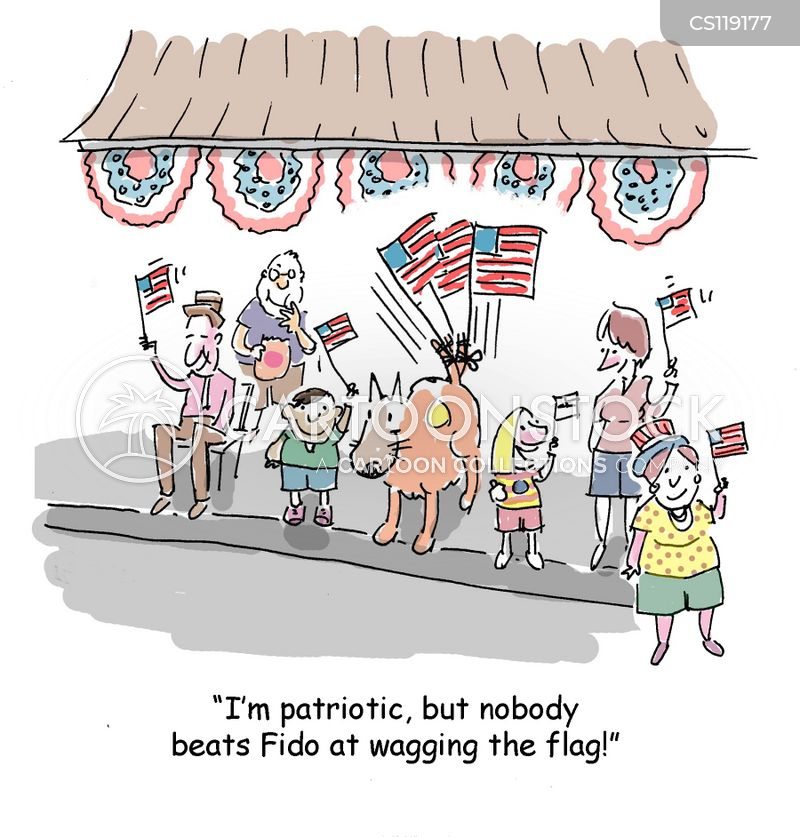 flag waver cartoon
