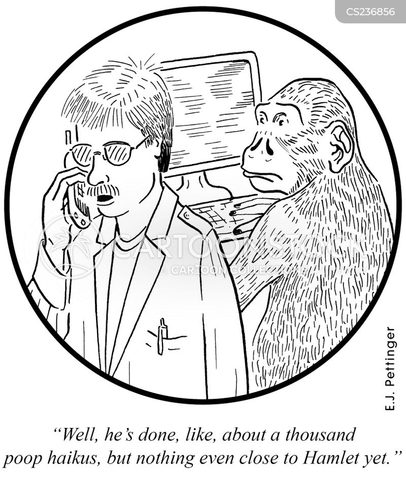 Infinite Monkey Theorem cartoons, Infinite Monkey Theorem cartoon, funny, Infinite Monkey Theorem picture, Infinite Monkey Theorem pictures, Infinite Monkey Theorem image, Infinite Monkey Theorem images, Infinite Monkey Theorem illustration, Infinite Monkey Theorem illustrations