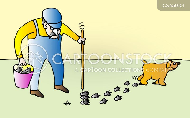 cleaning up after dogs cartoon