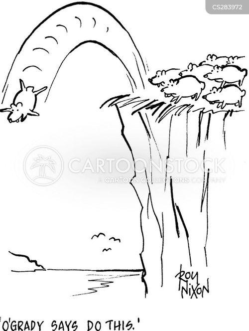 jump off a cliff cartoon